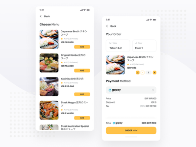 Restaurant & Cafe Booking App price menu order app design yellow app restaurant app restaurant clean mobile ux ios android ui minimal ux design simple ui design