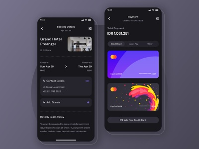 Hotel and Travel Booking - Mobile App Exploration dark app exploration dark mode dark ui card booking hotel payment method payment app clean mobile ux ios android ui minimal ux design simple ui design
