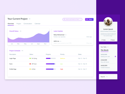 Profile Page Project Apps project management admin ui design ux ui design design app design dashboard profile profile card dashboard ui