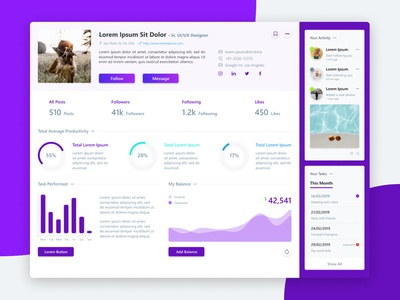 Analytics Profile Page UI admin design admin dashboard admin template admin chart analytic purple dashboard design dashboard profile ui profile design