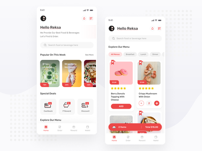Restaurant App Exploration - Mobile App explore card ios android banner grid ux design ui design simple minimal red restaurant apps mobile
