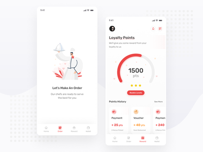 Restaurant App Exploration - Order And Reward red simple illustration chart explore mobile restaurant minimal ux ui ux design ui design apps android ios exploration