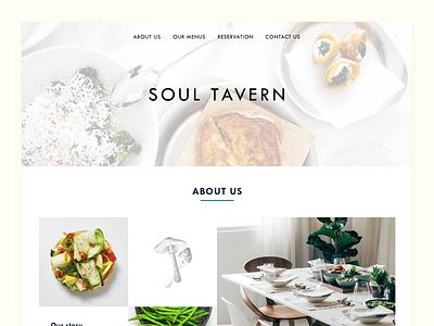 Soul Tavern - light theme illustration soul-tavern homepage restaurant minimal clean cruelty-free vegetarian vegan ui