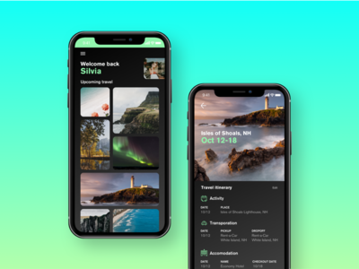 Card style itinerary planner photos green places trip itinerary travel mobile iphone-x cards vacation