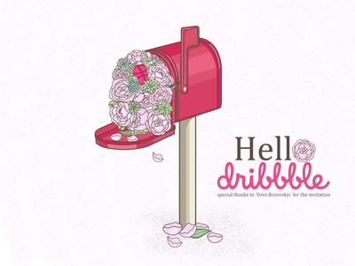 Hello Dribbble peony outline mailbox flowers concept vector illustration debut hello dribbble