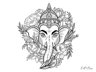 Ganesha with flowers