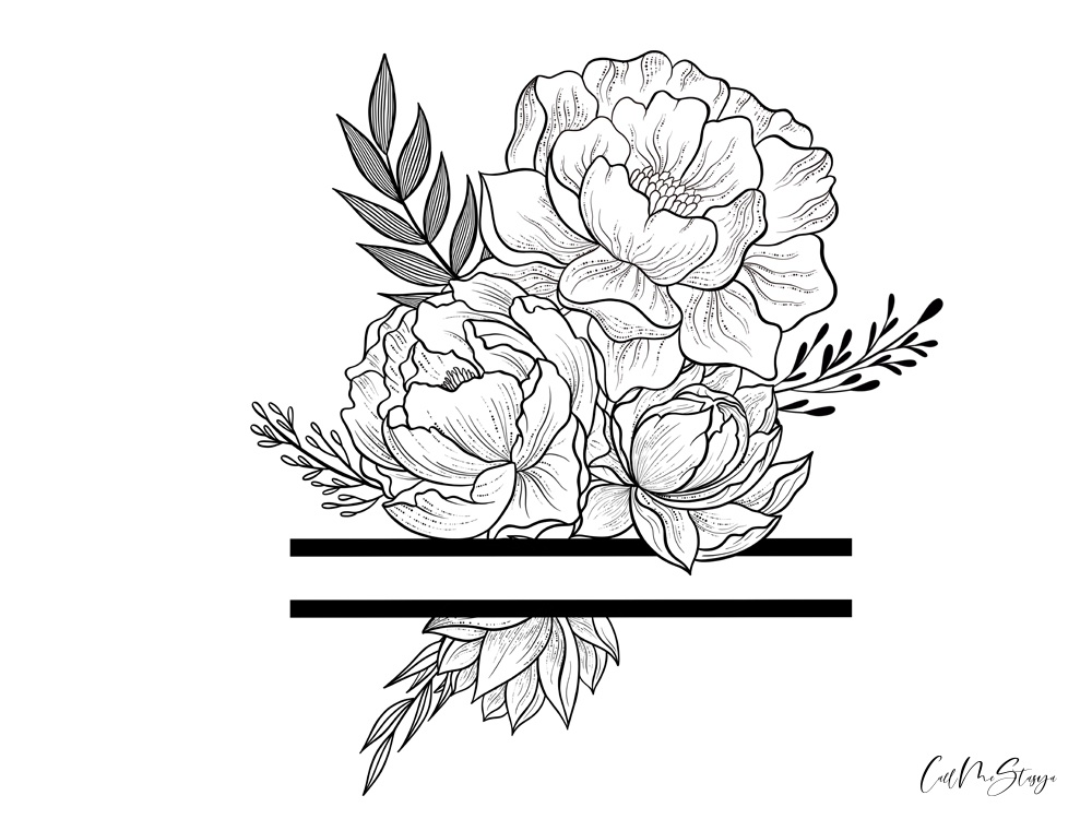 Flowers with negative space negative space frame vector tattoo arrangement peonies design tattoo design black and white illustration concept outline peony flowers