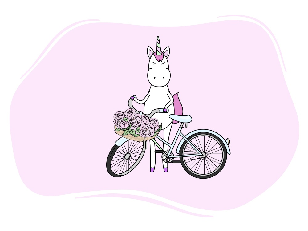Unicorn and his bicycle :) cartoon character bicycle bike with basket flowers concept color bike magic unicorns unicorn character design character illustration peony design vector