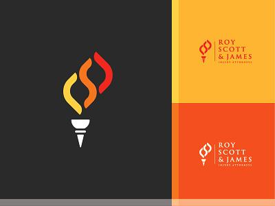 Roy Scott & James Injury Attorneys torch attorney branding logo flame legal law