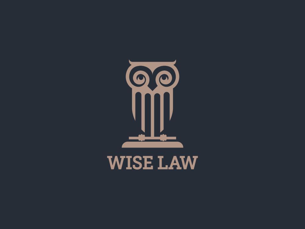 wise law owl law logo design