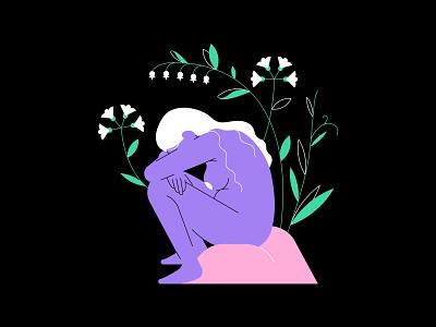 Sorrow flowers plants depression sad woman illustration van gogh woman girl flat  design vector illustration
