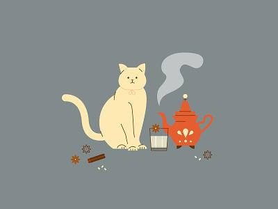 Cozy Winter   Hot Drinks cozy winter chai latte kitten kitty cat flat  design vector illustration