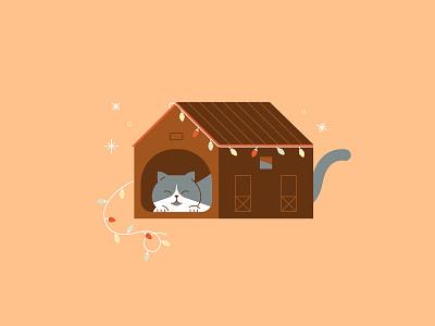 Cozy Winter   Cozy Cabin xmas lights kitten cozy winter winter cabin cat illustration kitty ca flat  design vector illustration