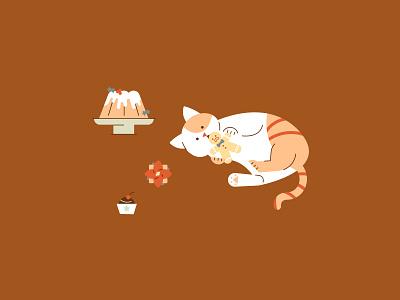 Cozy Winter   Baked Treats winter cozy sweets gingerbread xmas cat illustration cat kitty vector illustration