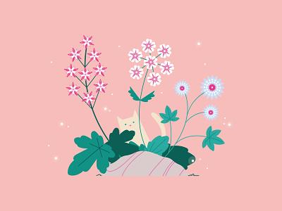 Kitty and flowers flowers illustration flowers flower flat cat illustration cat kitty girl flat  design vector illustration