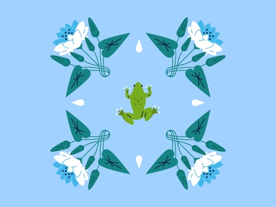 Frog and flowers frogs flat pattern frog flat  design vector illustration