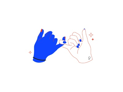 Sisterhood hands girl power feminism vector flat  design illustration