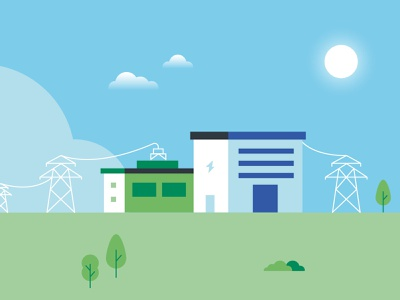 Electrify Italy • Industry industry green energy flat  design vector illustration