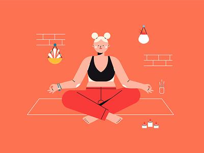 Youni - Yoga Illustration 02 personal project home yogi yoga pose yoga girl flat flat  design vector illustration