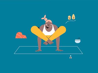 Youni - Yoga Illustration 03 yogi yoga pose yoga character girl flat flat  design vector illustration