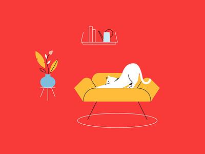 Youni - Yoga Illustration 04 yoga illustration cat illustration kitty cat yoga flat flat  design vector illustration