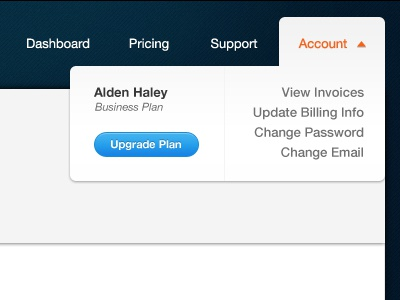Account Dropdown Menu account menu link nav upgrade button drop down menu drop down ui design ux photoshop