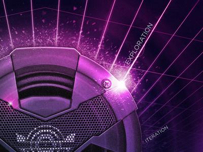 Sparkly Thingy photoshop illustrator grid poster speaker music sparkle fragments flare glare
