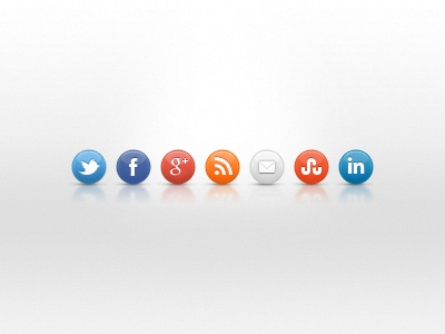 Social Media Icon Pack icon twitter facebook google rss email contact stumbleupon linkedin round button social media gloss shiny