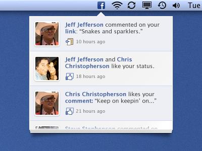 Facebook Notification Thingy facebook menu notifications mac osx app menubar widget icon social media ui