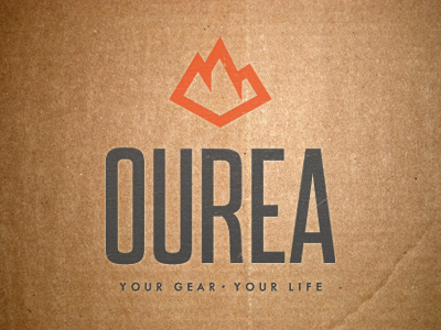 Ourea Logo ourea logo wordmark pictorial mark symbol outdoor craggy mountains peaks gear clothing