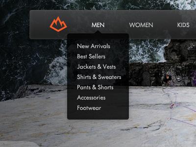 Ourea Nav ourea web website nav navigation menu drop down hover mountain logo outdoors
