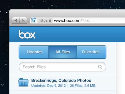 Three Button Nav button nav tab box search mag icon folder shared blue browser file