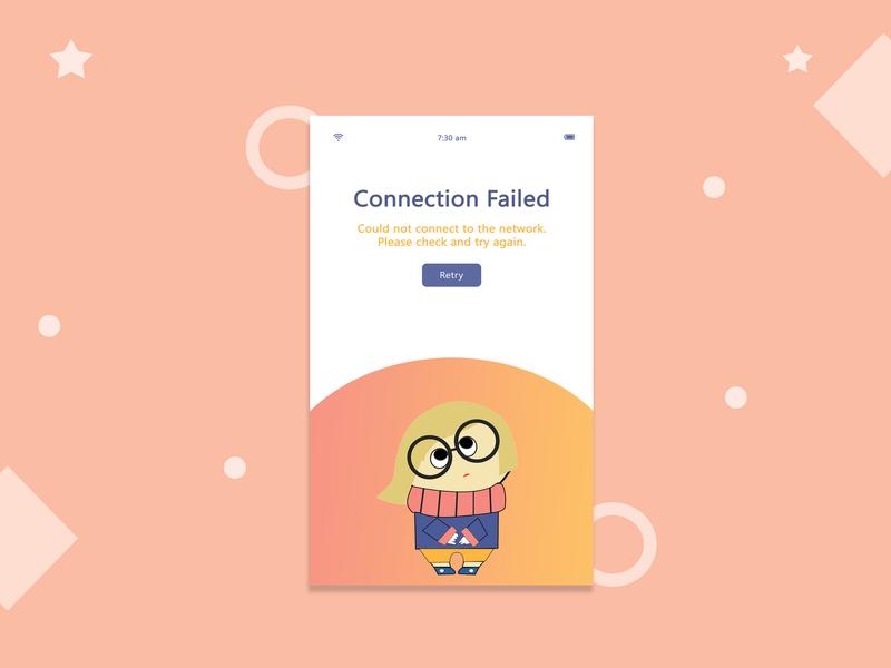 Connection Failed mobile uiux photoshop app ui