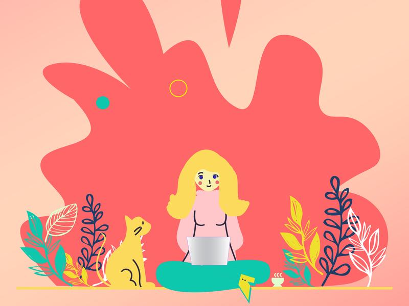 Girl On Lapy illustration design vector illustration art and illustraion illustrations