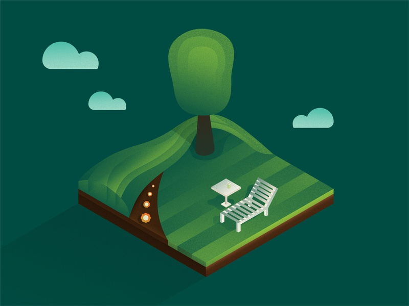 Yard Time lawn chair landscape yard isometric grass turf texture illustration