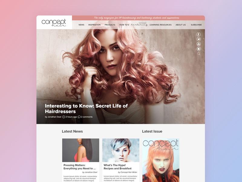 Concept Hair Magazine Homepage branding lifestyle brand lifestyle education university apprentice student wordpress design illustration website development birmingham web design agency website design