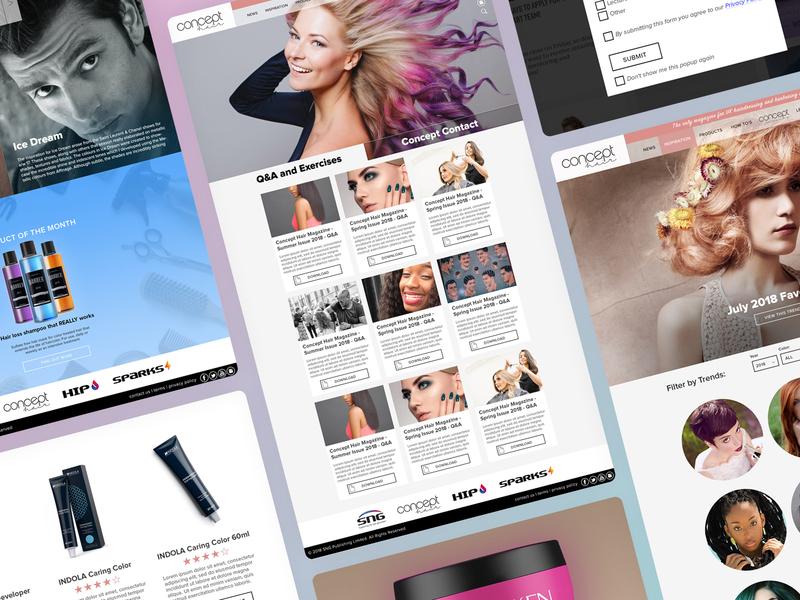 Concept Hair Magazine Website Pages branding apprentice wordpress design desktop design website development birmingham mobile design web design agency website design