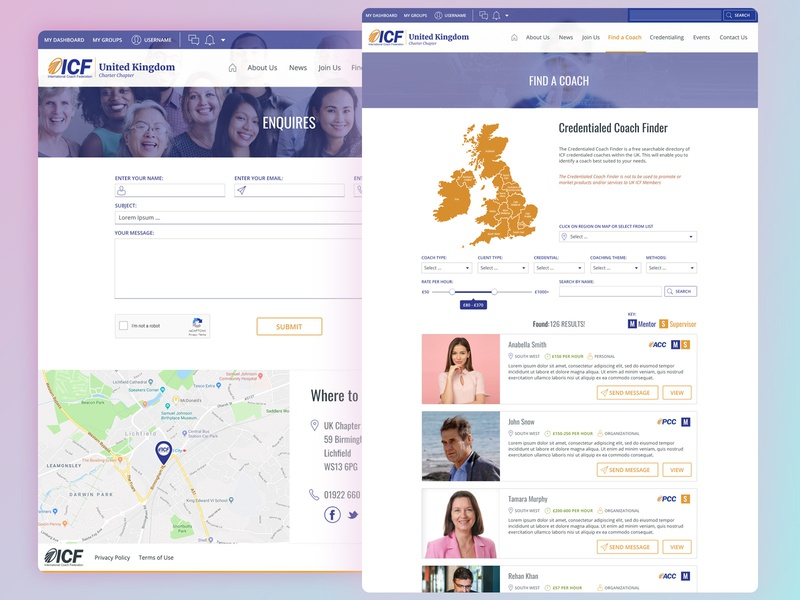 The UK ICF - Coach Search page cms php laravel website development birmingham web design agency website design search bar directory map social media pack social network profile search