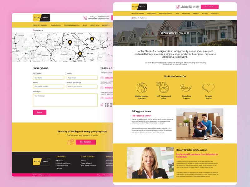 Henley Charles - Split Images wordpress mobile design website development birmingham web design agency website design estate agents property black yellow pink estate agent