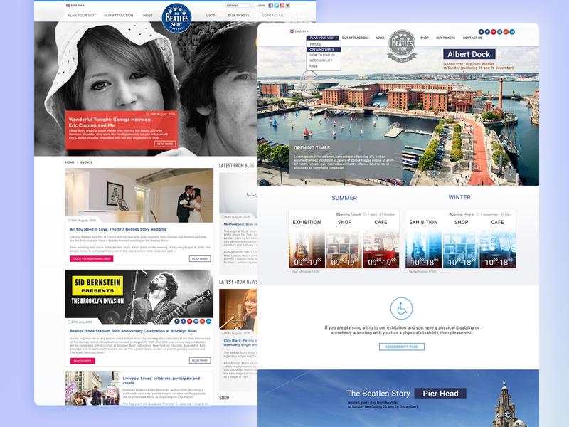 The Beatles Story split screen news band music grey blue mobile design mobile ui design branding laravel php website development web design agency website design liverpool homepage the beatles