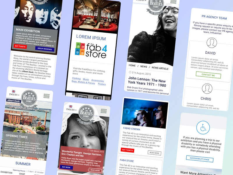 The Beatles Story Iso design mobile website mobile web design mobile design website development web design agency website design isometric grey blue liverpool the beatles