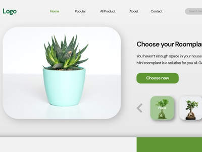 Plant Shop - Hero Header By Rofii ui web header design