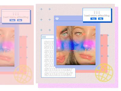 Summer glitchart photoshop cyberpunk inspiration design affinitydesigner poster design