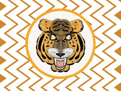 hand-draw sticker poster design design challange illustration tiger sticker design sticker