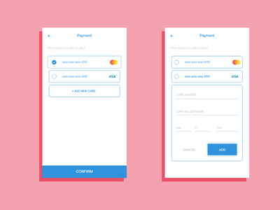 Daily UI 002 - Card checkout minimal payment checkout mobile app design responsive ux ui daily ui