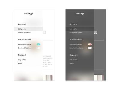 Daily UI Challenge 007 - Settings daily ui 007 black and white settings app responsive minimal daily ui app design mobile ux ui