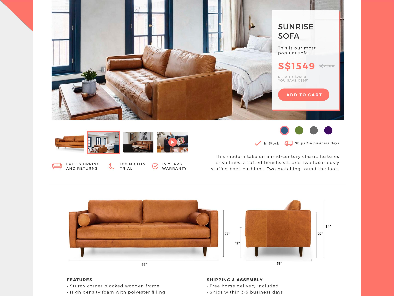 Home Furniture Web Design - Add to Cart WIP