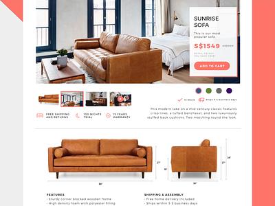Home Furniture Web Design - Add to Cart WIP retail furniture web design ux ux design uidesign sketch app sketch aoiro studio