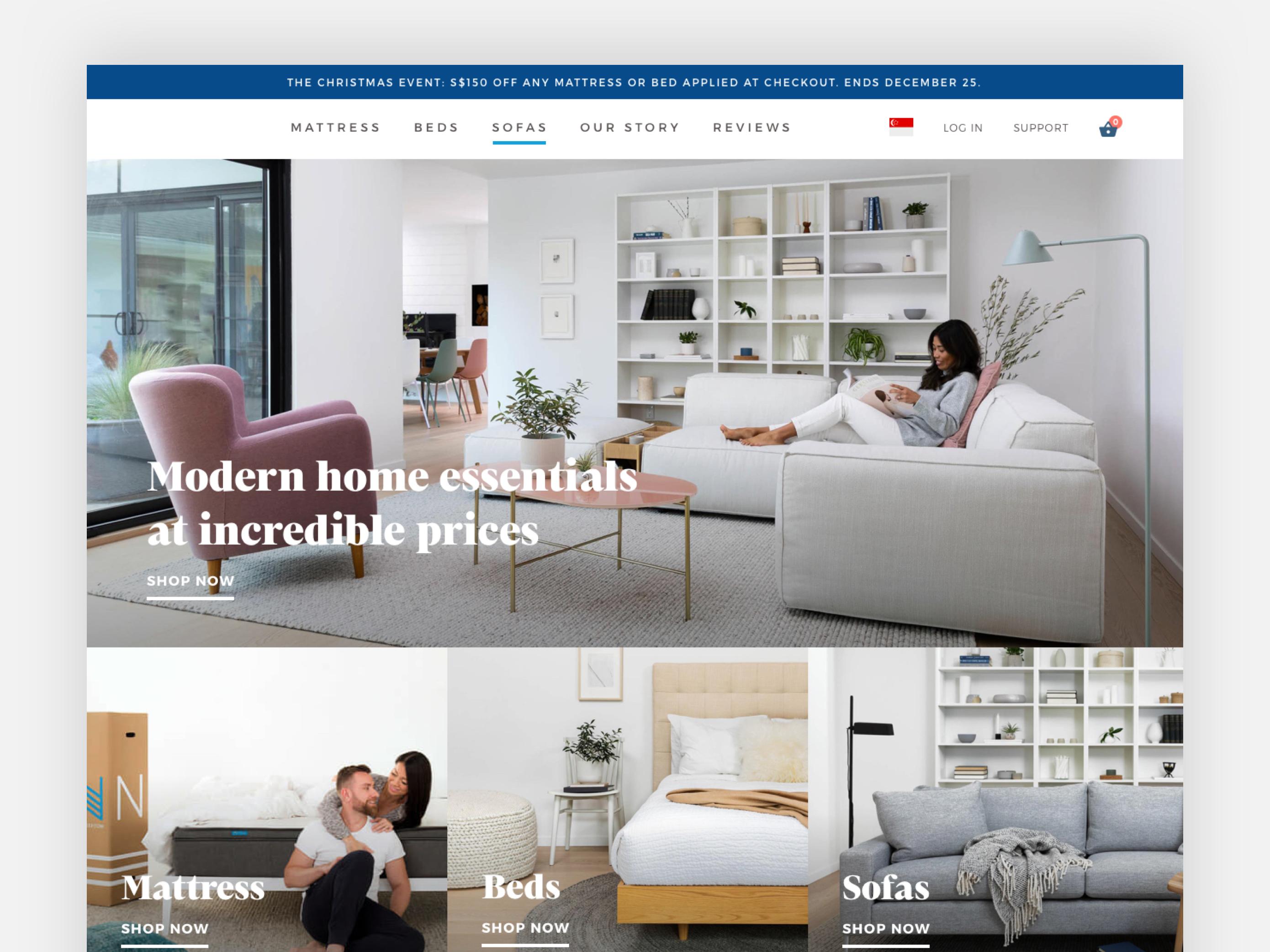 Home Furniture Web Design - Homepage