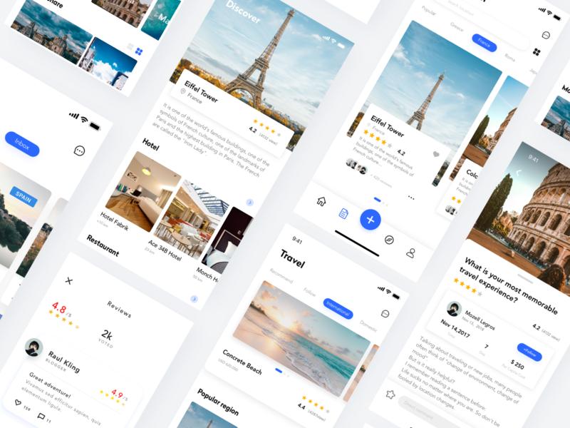 Travel application interface Concept Page travel app ux ui design